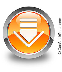 Download icon glossy orange round button 2