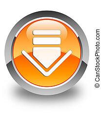 Download icon glossy orange round button 2