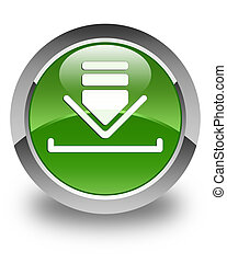 Download icon glossy soft green round button