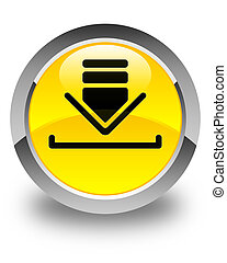 Download icon glossy yellow round button