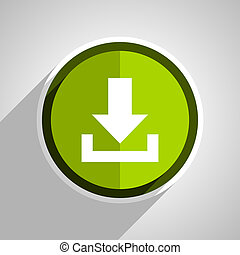 download icon, green circle flat design internet button, web and mobile app illustration