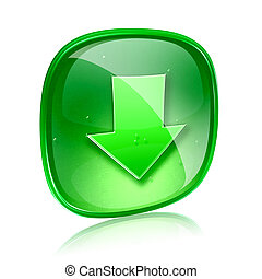 Download icon green glass, isolated on white background.