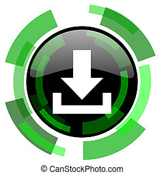 download icon, green modern design isolated button, web and mobile app design illustration