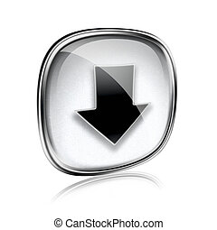 Download icon grey glass, isolated on white background.
