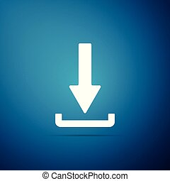Download icon isolated on blue background. Upload button. Load symbol. Arrow point to down. Flat design. Vector Illustration