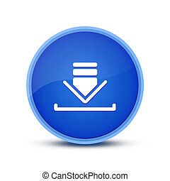 Download icon isolated on glassy blue round button abstract