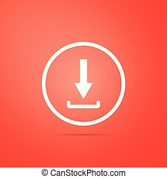 Download icon isolated on red background. Upload button. Load symbol. Arrow point to down. Flat design. Vector Illustration