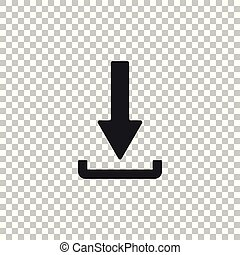 Download icon isolated on transparent background. Upload button. Load symbol. Arrow point to down. Flat design. Vector Illustration