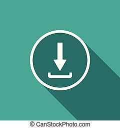 Download icon isolated with long shadow. Upload button. Load symbol. Arrow point to down. Flat design. Vector Illustration