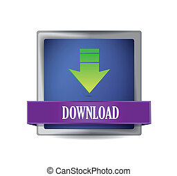 Download icon on glossy blue square