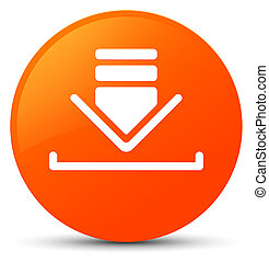 Download icon orange round button