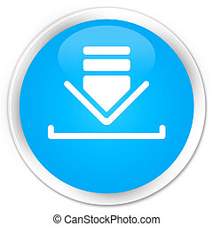 Download icon premium cyan blue round button