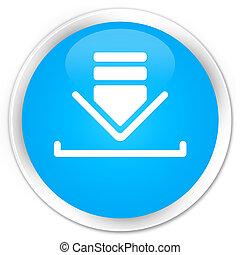 Download icon premium cyan blue round button