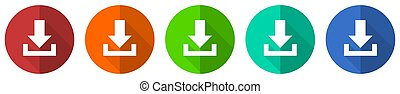 Download icon set, red, blue, green and orange flat design web buttons isolated on white background, vector illustration