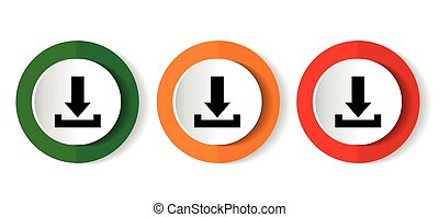 Download icon set, vector illustrations in 3 options for web design and mobile applications