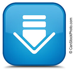 Download icon special cyan blue square button