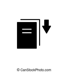Download icon. vector illustration black on white background