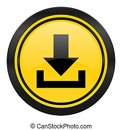 download icon, yellow logo,