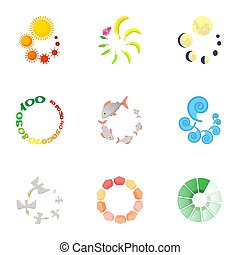 Download icons set, cartoon style