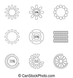 Download icons set, outline style
