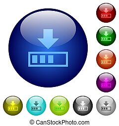 Download in progress color glass buttons