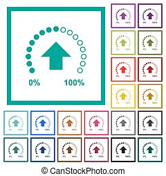 Download in progress flat color icons with quadrant frames...