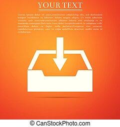 Download inbox icon isolated on orange background. Flat design. Vector Illustration