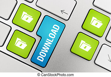 Download Key Concept - Button with download text and symbols...