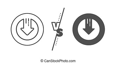 Download line icon. Down arrow sign. Vector