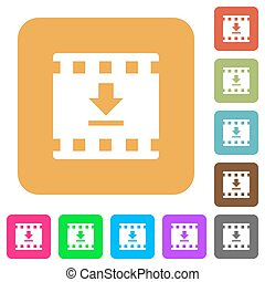 Download movie rounded square flat icons
