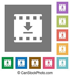 Download movie square flat icons