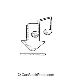 Download music sketch icon.
