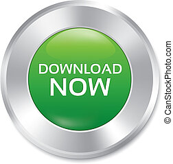Download now button. Vector green round sticker.