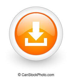 download orange glossy web icon on white background