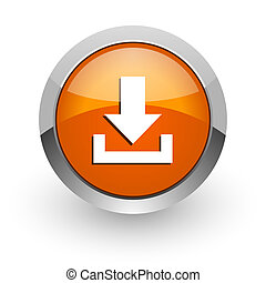 download orange glossy web icon
