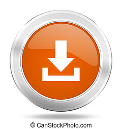 download orange icon, metallic design internet button, web and mobile app illustration