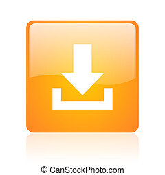 download orange square glossy web icon