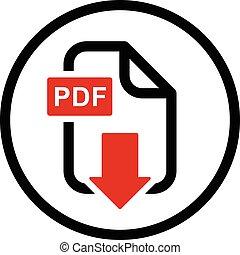 download, pdf, arquivo, simples, ícone
