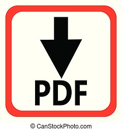 Download pdf file button isolated on white background