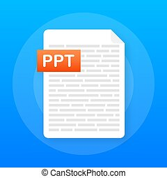 Download PPT button. Downloading document concept. File with...