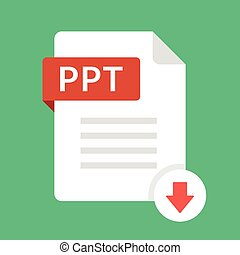 Download PPT icon. File with PPT label and down arrow sign....
