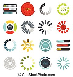 Download progress bar icons set, flat style