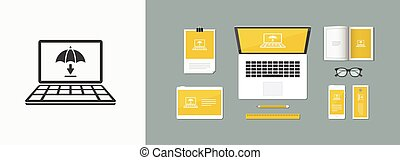 Download protection for computer browser - Vector flat icon