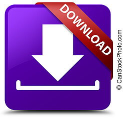 Download purple square button red ribbon in corner