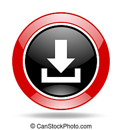 download red and black web glossy round icon