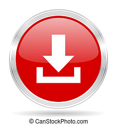 download red glossy circle modern web icon