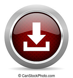 download red glossy web icon
