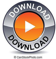 Download round button. - Download round metallic button....