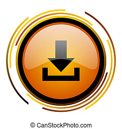 download round design orange glossy web icon