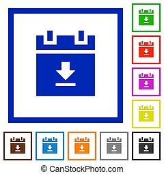 download schedule data flat framed icons - download schedule...
